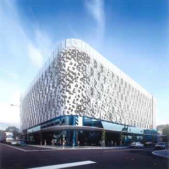 Artist impression o f the specially designed external facade of Skypark Carpark on Section 3 Phillip.