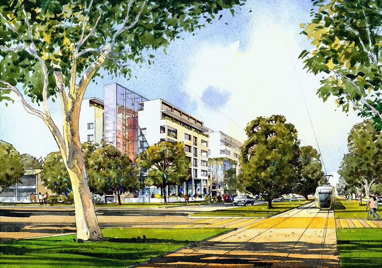 Artist impression of the Section 6 Dickson, Northbourne Housing Precinct redevelopment.