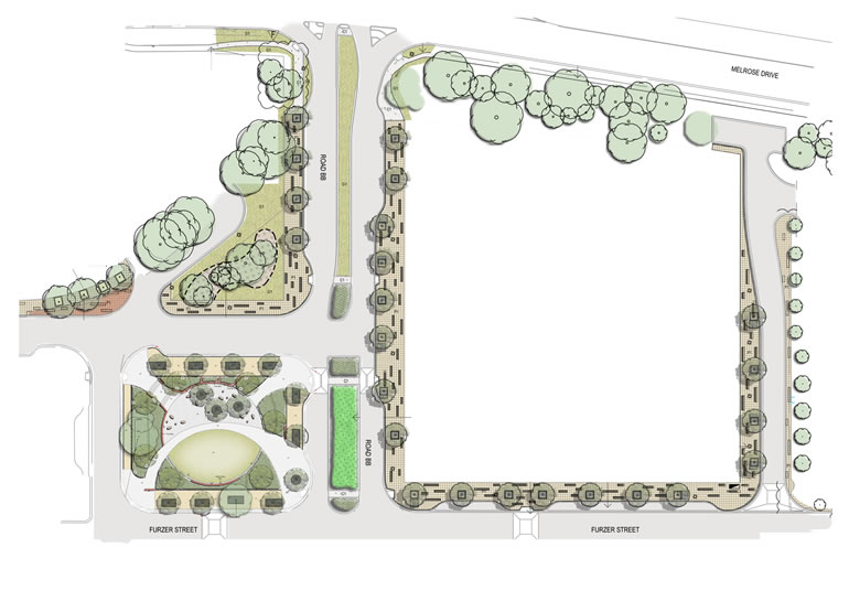 Artist impression o f the Furzer Street Precinct master plan for Section 9 Phillip. Includes the realigned Corinna Street, landscape works and new public park.
